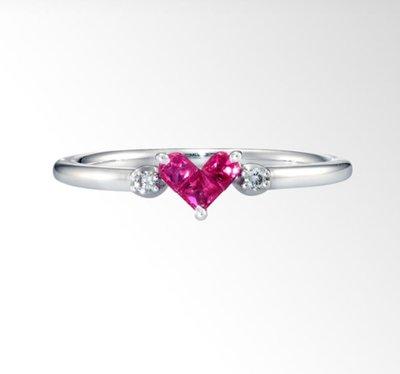 【芬芳時尚】日本專櫃正品STAR JEWELRY明星珠寶18白金 愛心 紅寶石 天然鑽石戒指 11號 附證書