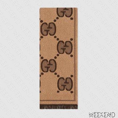 【WEEKEND】 GUCCI GG Wool Jacquard 流蘇 圍巾 米+棕色 20春夏 598993