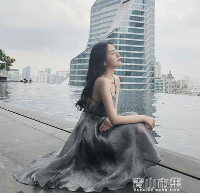 可開發票 夏裝新款女洋裝性感露背沙灘裙氣質海邊閃亮吊帶禮服裙 『摘星居』