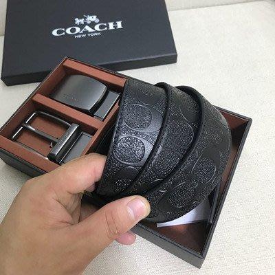 【八妹精品】COACH 55157 百搭男士皮帶雙面用皮帶 壓紋素面 口頭可轉動 皮帶可自行裁剪腰帶