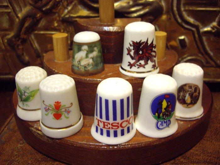 歐洲古物時尚雜貨  造型頂針 縫紉飾品 指套 擺飾品 古董收藏 一組7件
