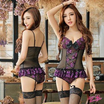 紫黑撞色緹花蕾絲馬甲四件組