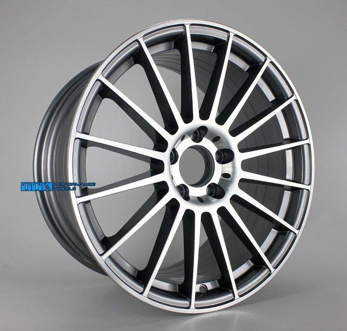 【小茵輪胎舘】 2018新款台灣製MF08 類AMG 輕量化旋壓製品 18吋 5孔112 灰底車面 (配胎套餐大折扣)