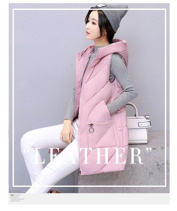 東大門平價鋪 新款女士中長款連帽羽絨棉背心,韓國寬鬆學院風棉服