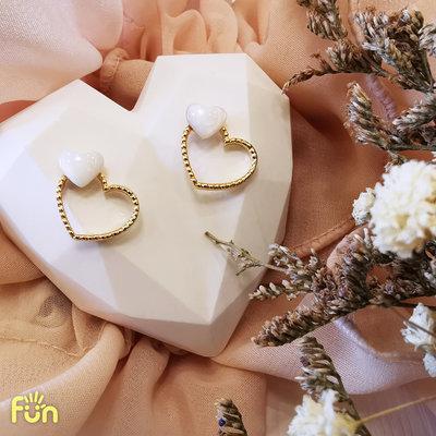 🌿FUN物生活🌿【現貨】韓國直運|個性可愛氣質雙愛心|耳環|飾品|耳釘|簡約小巧|耳飾|像極了愛情🌿FUN物生活🌿