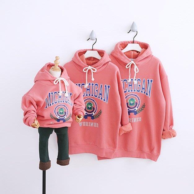 【小阿霏】成人款 親子裝家庭裝 粉色字母抓絨休閒長袖帽T恤 寬鬆秋冬上衣衛衣FA54