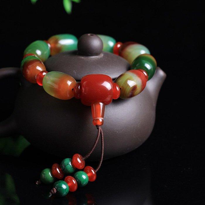 天然瑪瑙彩石手鏈手串原創時尚設計精品瑪瑙石價