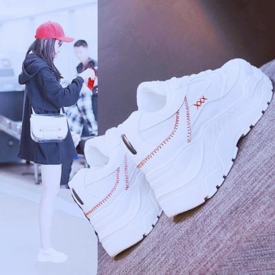 【全場免運】運動鞋韓版原宿百搭秋季厚底火焰老爹鞋子新款~逸居生活館