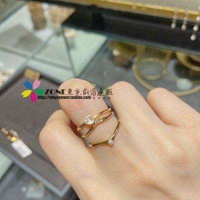 手錶屋 日本代購 ete 20冬限定 Treat系列 月光石珍珠鉆石 銀鍍金 戒指套