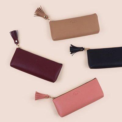 ♀高麗妹♀韓國 Rihoon Tassel Pencase 流蘇皮革筆袋/化粧品.小物收納包(預購)