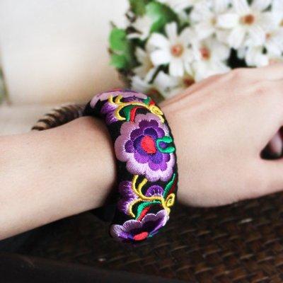 ♪鈷藍家♪ 民族風刺繡手環 簡約文藝中國風重工刺繡開口手鐲