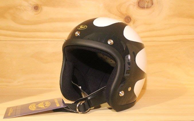 (I LOVE樂多)BUCO SCALLOPS黑白 4/3復古安全帽(史上最悠久經典的安全帽品牌)