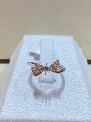 GOSHO日本進口鉑金鑽石戒指,適合30分鑽石戒台,甜美蝴蝶結設計戒台,超值優惠價18800元,不用去百貨專櫃花大錢品質一樣好鉑金加18K玫瑰金少見特殊款式
