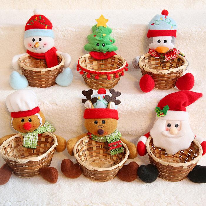 圣誕糖果籃圣誕老人雪人籃子蘋果盒籃擺件公仔圣誕節裝飾用品