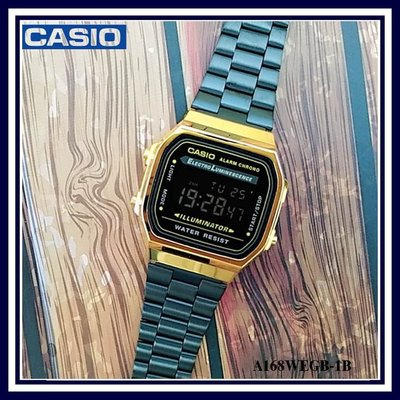 CASIO經典復古型黑金錶 金框黑金屬錶帶 雜誌款超值收藏 台灣卡西歐公司保固卡【↘超低價】A168WEGB