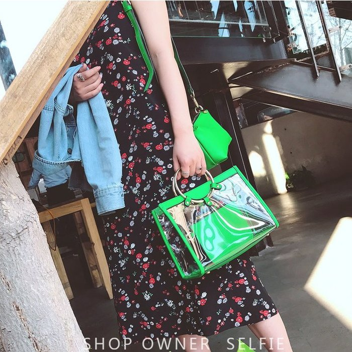 時尚質感皮質透明圓環手提側背包子母包-4色❤麻豆實拍❤3346 現貨出清