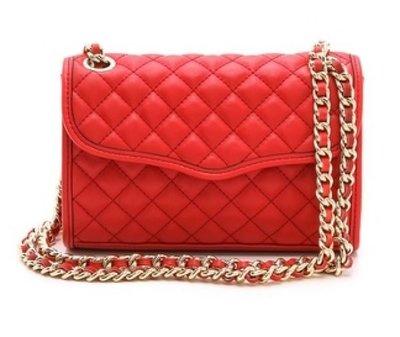 美國名牌Rebecca Minkoff Quilted Mini 專櫃款深紅色皮質金鍊肩/斜背包現貨在美$4500含郵