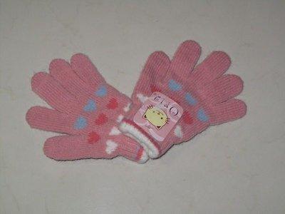 天使熊小鋪~Oria小朋友毛線手套 可愛彩色愛心圖案15cm 粉色 超保暖~超低價優惠~