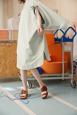 創意夏季女鞋NEEDLE【自在于你】粗跟中跟外穿半拖鞋方頭露趾復古穆勒鞋女真皮