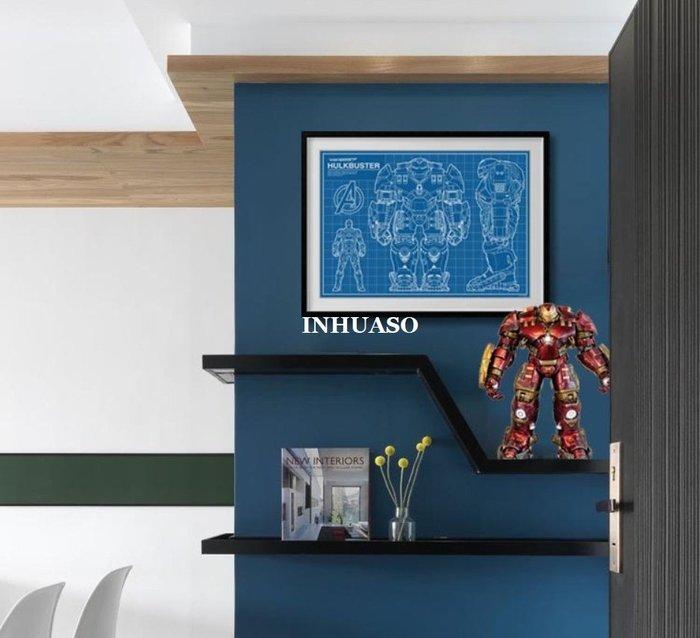 INHUASO 癮|畫|所 原創藍圖鋼鐵人反浩克裝甲hulkbuster設計圖稿海報裝飾畫MARVEL英雄人物電影掛畫