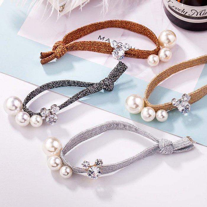 鑲鑽米奇 大小 珍珠 打結髮繩 髮束 頭繩 高彈 金絲 金線髮繩 釘珠