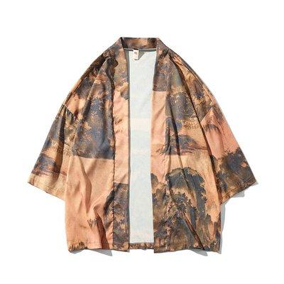【型男風尚】AZ0622*胸102-134CM 中國風印花 開衫 大碼 日式 漢服