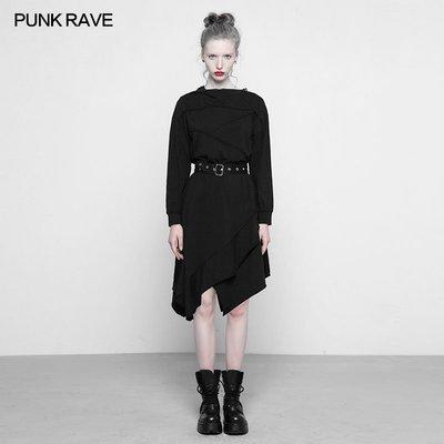 beauty女孩 PUNK RAVE pr朋克狀態女裝帶帽拼接不對稱連身裙禁欲系暗黑學生