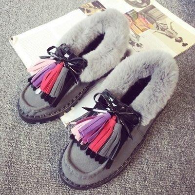 豆豆鞋羊毛絨休閒鞋-平底鞋短筒可愛磨砂保暖真皮女鞋子3色72o16[獨家進口][米蘭精品]