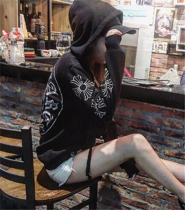 美國潮牌CHROME HEARTS 克羅心馬蹄鐵十字架拉鍊連帽外套黑色男女長袖衛衣