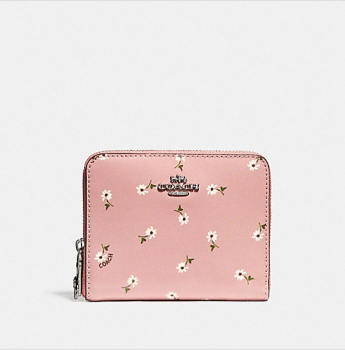 Coco小舖COACH 30184 SMALL ZIP AROUND WALLET 粉色印花短夾