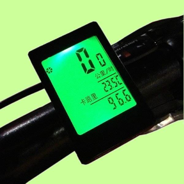 5Cgo【權宇】最後出清 自行車中文100%防水夜光超大屏幕觸摸式無線碼表+里程+消耗熱量 三色 再送指北針+鈴鐺 含稅