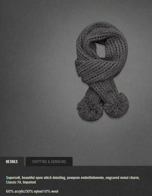 美國Abercrombie &Fitch女裝 Pretty Knit Scarf 灰色毛球實用暖暖長型圍巾(含羊毛)含運