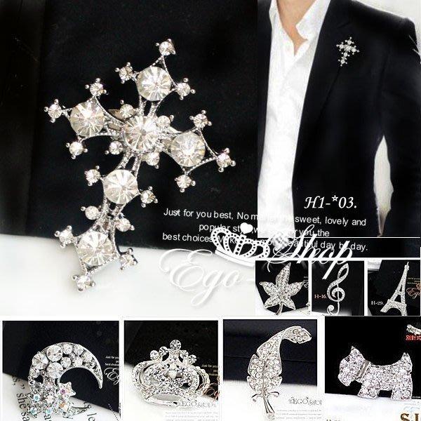%EGO-SHOP%型男軍皮衣西裝外套點綴單品水鑽皇冠胸針SJ.H-101∮