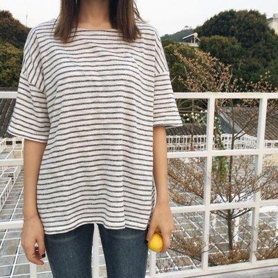 韓版春夏新款原宿女打底衫寬版條紋T恤女學生體恤衫795
