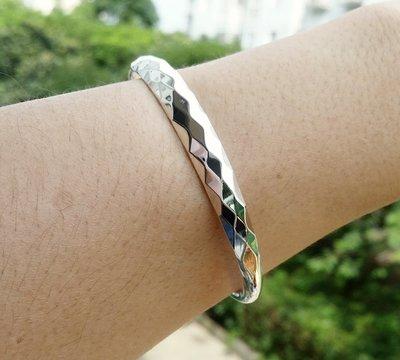 嗨,寶貝銀飾珠寶* 925純銀☆999純銀 時尚 超閃亮 對珠菱形切割 實心 開口純銀手環 手鐲