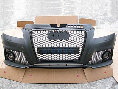 ~~ADT.車燈.車材~~奧迪 A3 8P 09 10 11 12年 RS樣式 前保桿+霧燈+網狀水箱罩一組