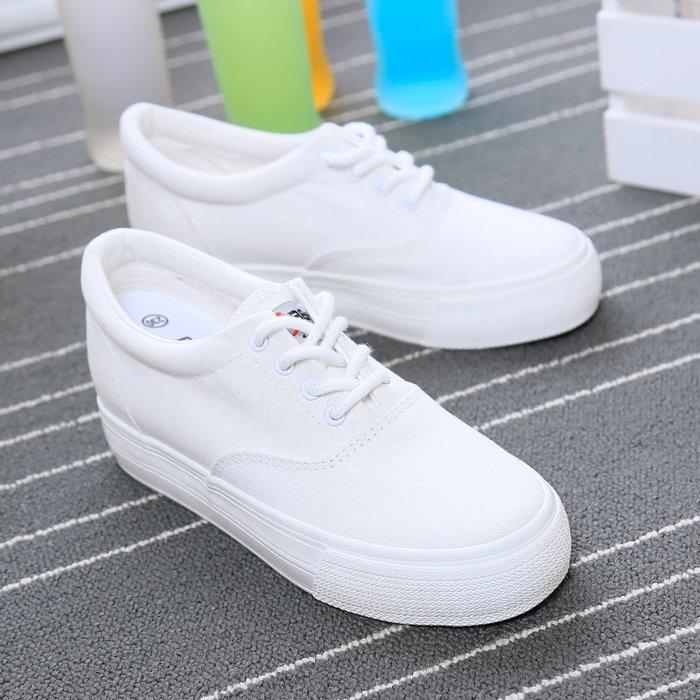 小白鞋2019新款帆布鞋女厚底內增高小白鞋女韓版學生百搭透氣布鞋子