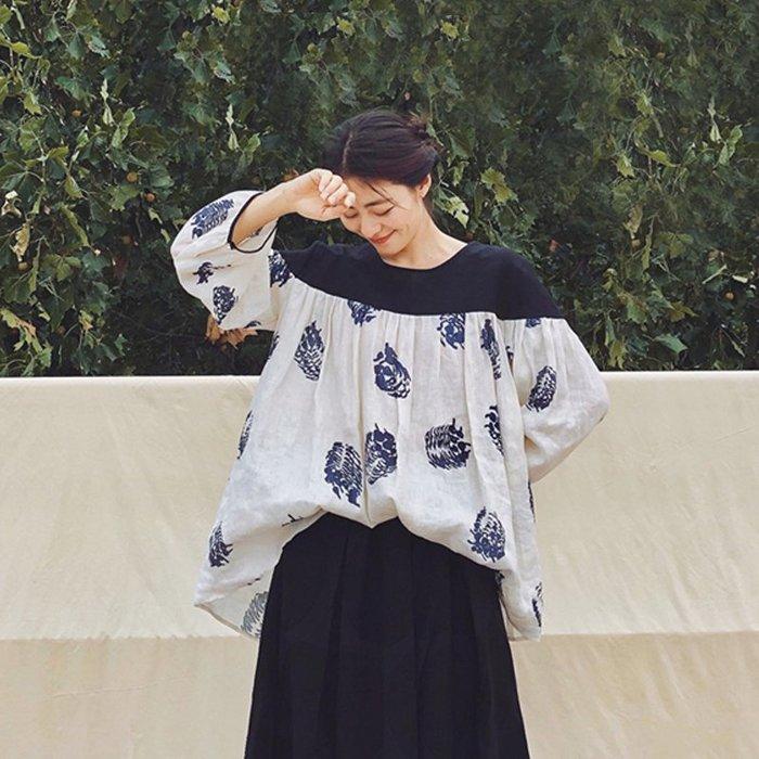 【鈷藍家】日雜風原創松果印花套頭亞麻襯衫女長袖秋季寬鬆褶皺撞色上衣娃娃衫