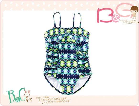 【B& G童裝】正品美國進口OLD NAVY 花朵綠色連身泳裝XS,S號5-6-8yrs(UPF40)