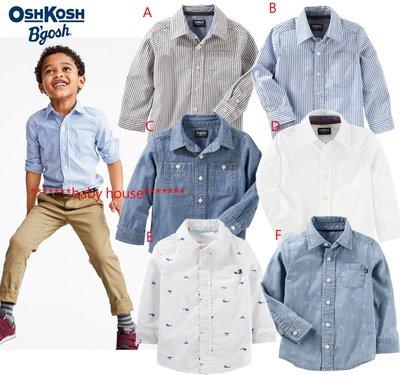 美國OshKosh 條紋/素色口袋款長袖襯衫(現)zara gap h&M 1/2 next CARTERS POLO