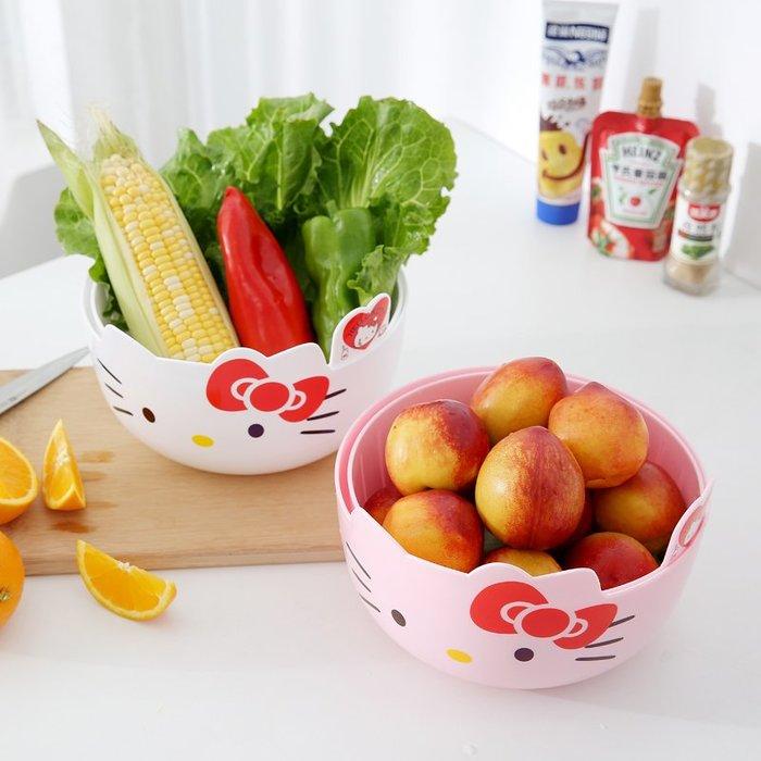 KITTY塑料雙層洗菜籃瀝水籃 廚房籃子家用果盤多功能圓形洗菜盆水果籃
