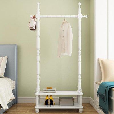 實木衣架落地臥室掛衣架簡易簡約現代家用衣帽架衣服架子客廳歐式T