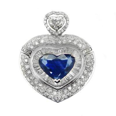 【JHT金宏總珠寶/GIA鑽石專賣】天然藍寶心型鑽墜