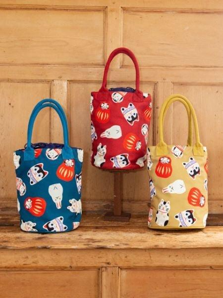 日本進口~吉祥物 和風 束口 水桶包 手提袋