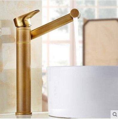【優上】歐式全銅面盆冷熱水龍頭可360度旋轉臉盆龍頭仿古加高款
