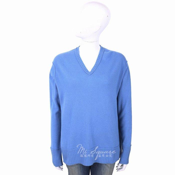 米蘭廣場 ALLUDE 喀什米爾蔚藍色V領織紋羊毛衫 1740217-23