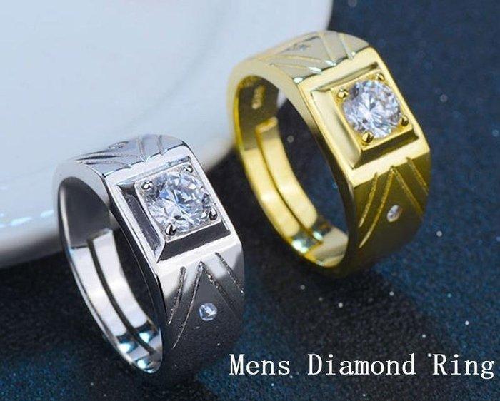 日韓時尚白金菱形男戒鋯石水鑽可調式開口戒指情人節禮物生日禮物買一送二