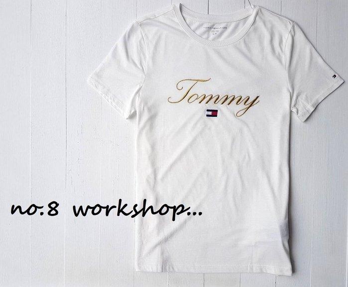 T☆【女生館】☆【TOMMY HILFIGER金線刺繡短袖T恤】☆【TOMG002L3】寬鬆版(S-M)原價1399