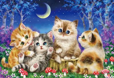 日本進口拼圖 動物 貓咪 月光下的聚會 原井加代美 kayomi harai  1000片拼圖 31-516