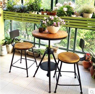 『格倫雅』陽臺桌椅組合三件套鐵藝戶外簡約休閑實木茶幾咖啡廳露臺小桌椅子^7700